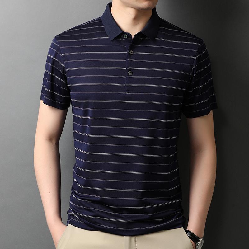 西梵尼短袖t恤男翻领水洗条纹爸爸装夏季新款中年含桑蚕丝polo衫
