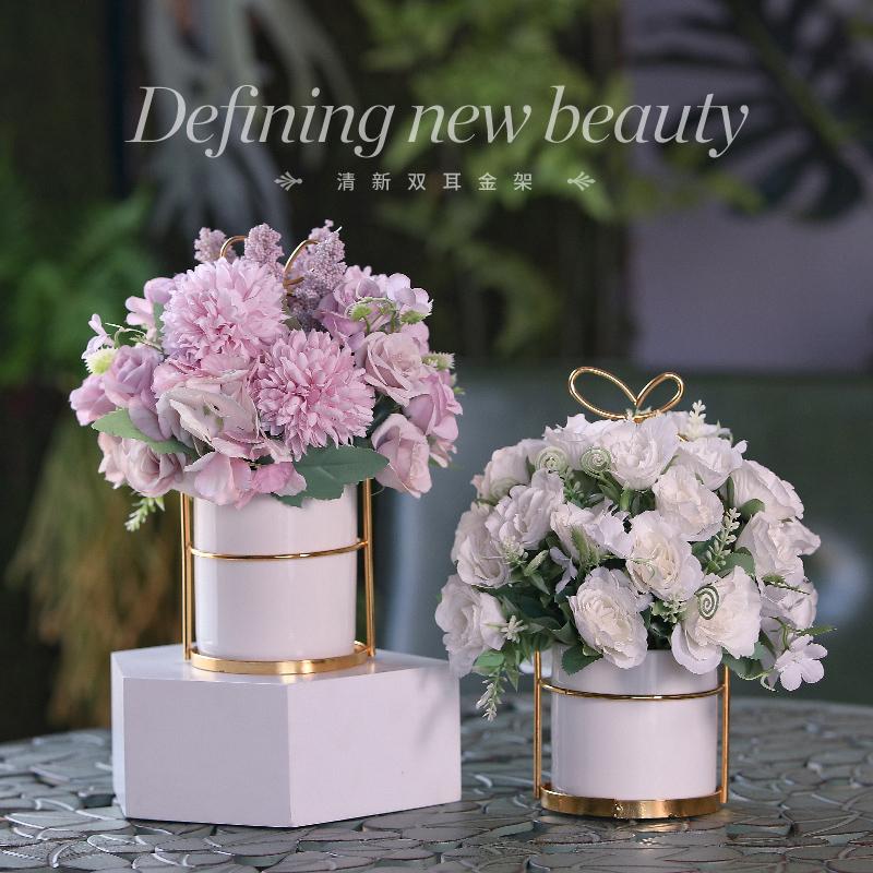 高品质小清新家居客厅假花仿真花干花花束装饰品茶几餐桌花艺摆件
