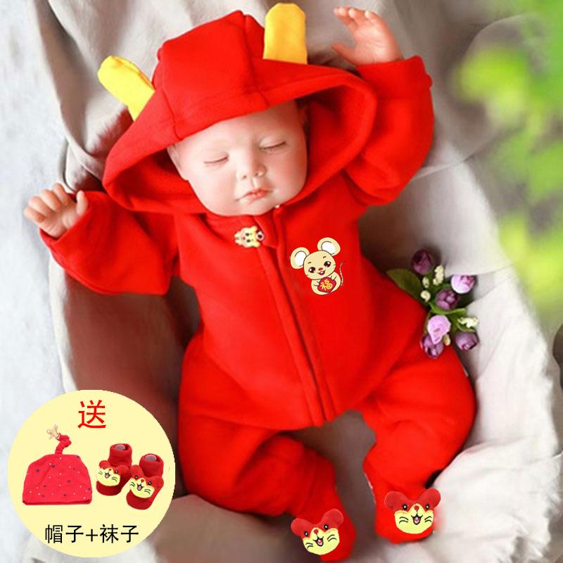 婴儿衣服 夏季 鼠年满月百天周岁婴儿服装棉质婴儿连体衣