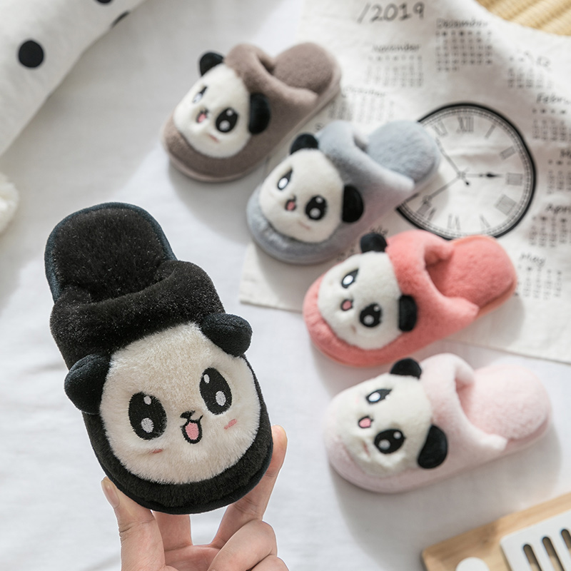 Baby cotton slippers girls family of three parent child boy antiskid cute cartoon indoor household panda childrens shoes