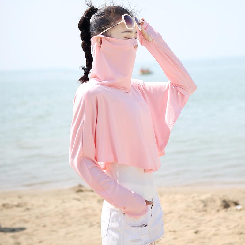 防晒面纱女遮脸夏季薄款露鼻孔透气口罩开口面罩护颈骑车开车披肩(非品牌)