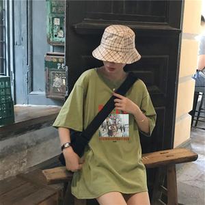 牛油果色白体t恤女内搭短袖夏装韩版宽松法式情侣装打底上衣ins潮