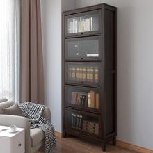 美式书柜置物架落地简约现代带玻璃门书房储物卧室柜客厅北欧书架