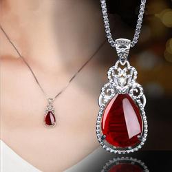 天然宝石绿玉髓项链 女925纯银红玛瑙气质吊坠生日礼物送妈妈礼物
