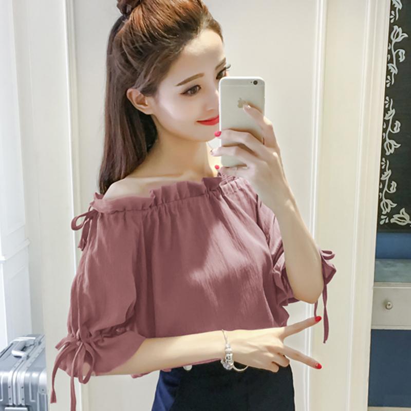 Новый летний корейский свободный воротник шифон рубашка кружево маленькая рубашка рукав кривляние плечо куртка женщина волна