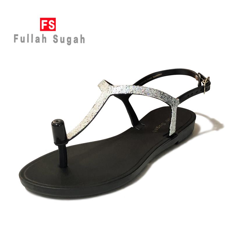 Fullah sugah European and American summer new fashion Roman silver bright film flat bottom clip toe comfortable non slip sandals women