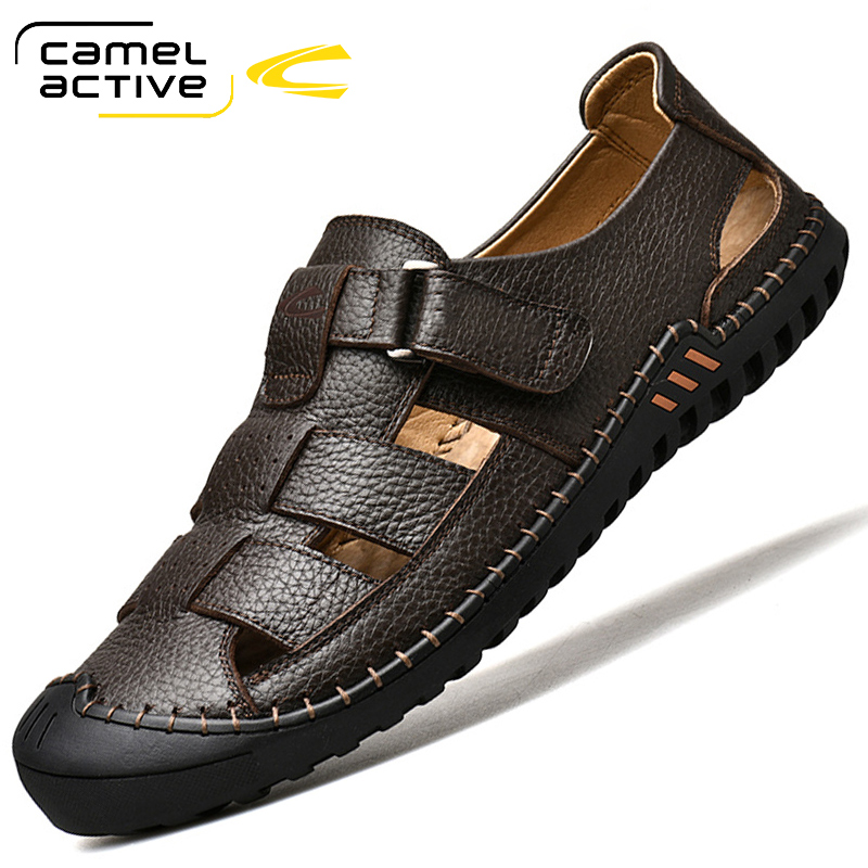 German camel dynamic men's Baotou sandals breathable outdoor casual leather shoes leather beach shoes men's shoes in summer
