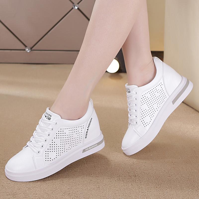 内增高女鞋6厘米休闲鞋韩版系带运动鞋镂空透气学生鞋百搭小白鞋