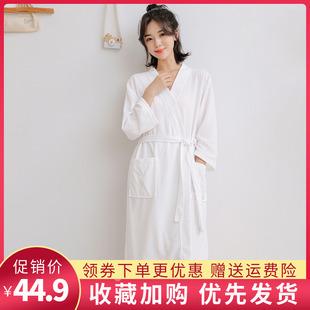 睡袍女薄款春秋季大码华夫格女士浴袍长款吸水速干浴衣家居服睡衣