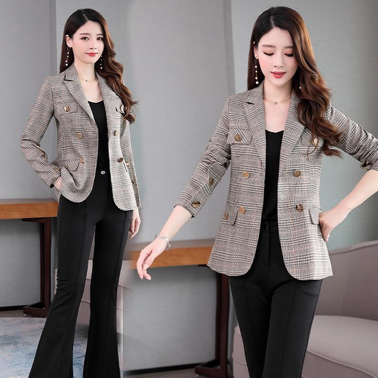 Plaid suit Retro Mid long flight leisure 2020 spring versatile professional temperament Blazer womens coat