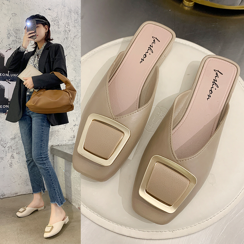 拖鞋女外穿夏2020新款时尚平跟女鞋子穆勒凉拖ins潮鞋包头一字拖