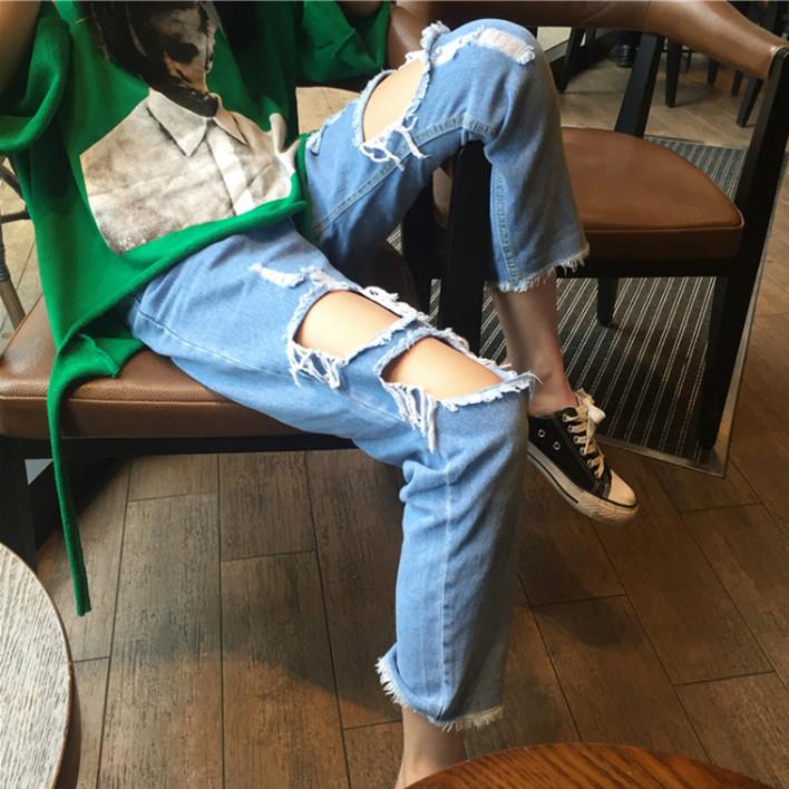 Студент harajuku стиль брюки корея 1M улица танец комната личность отверстие нищий брюки прямо девять очков джинсы женщина волна