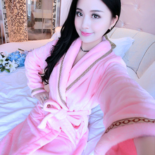 Flannel nightgown female winter cute coral velvet couple robe bathrobe female autumn thickening long pajamas home service