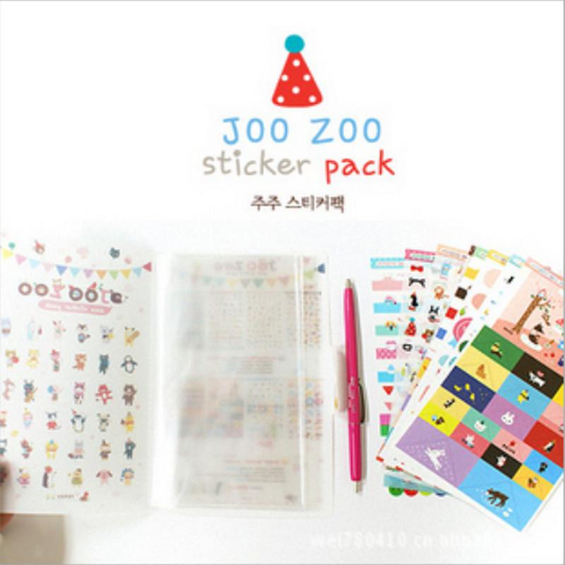 韩国文具 JOOZOO 可爱卡通装饰贴纸套装8张 附卡通封皮