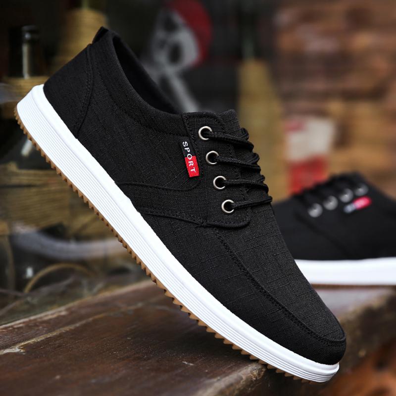 夏季老北京布鞋工作鞋子男韩版潮流运动休闲板鞋男秋季透气帆布鞋