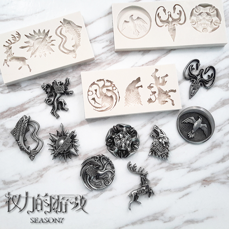 Game of power nine family badges song of ice and fire surrounding silicone mold turn sugar chocolate wxzb