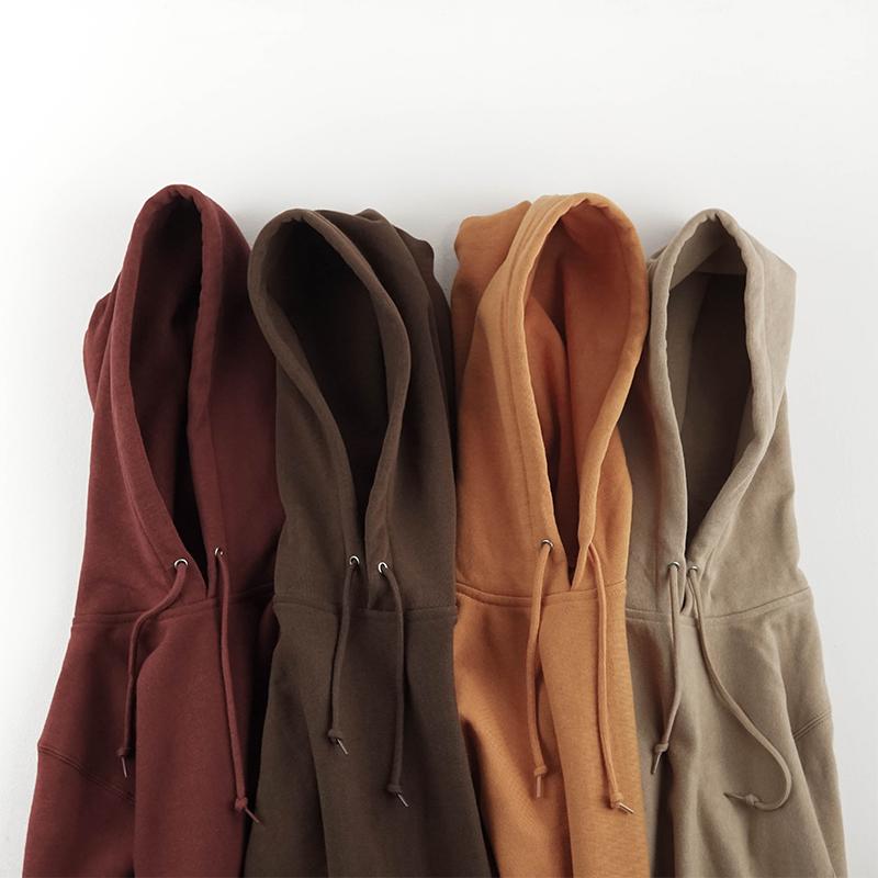 复古咔叽纯色巧克力色重磅纯棉薄绒连帽卫衣秋冬男慵懒风女款帽衫