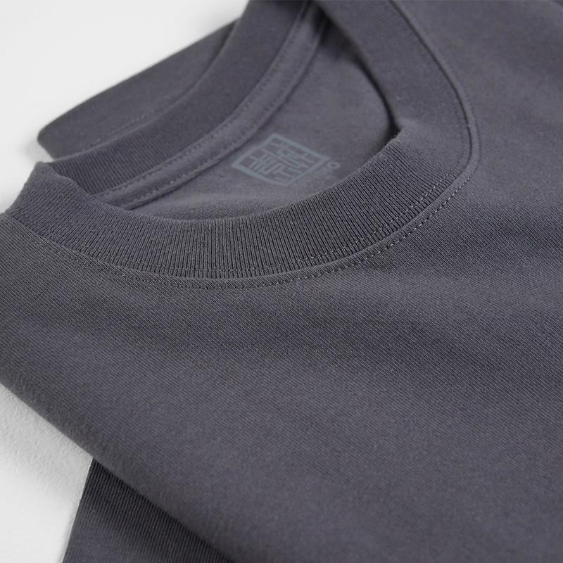 日系复古侘寂深灰色墨黑枪灰全棉圆领短袖重磅厚实t恤男女同款TEE