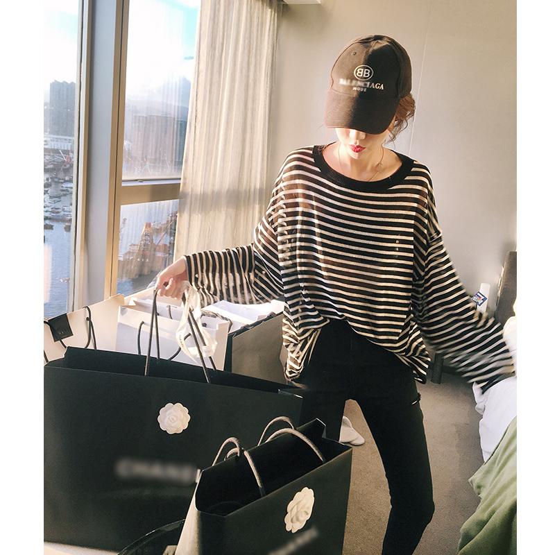 张贝贝ibell2018新款韩版春秋装怪味少女条纹长袖宽松针织衫薄款
