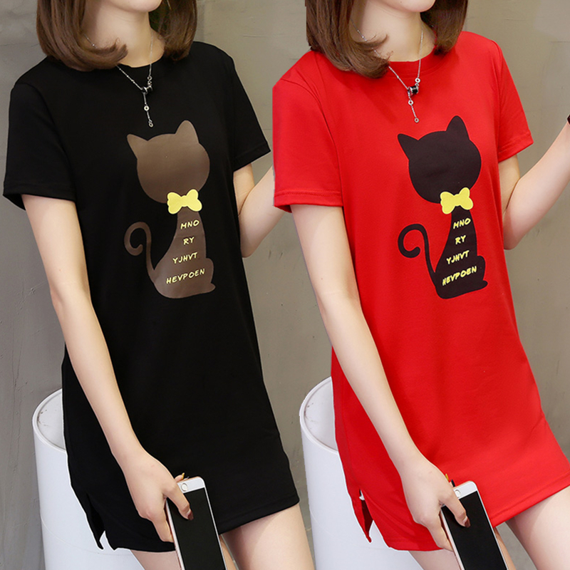 Summer short sleeve T-shirt. Blood body medium length long shirt long womens dress fat girl fat girl dress fat person