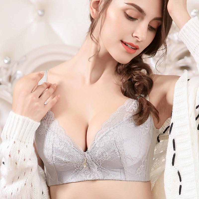 性感超薄全罩杯文胸大胸显小防下垂收副乳无钢圈聚拢内衣女薄款