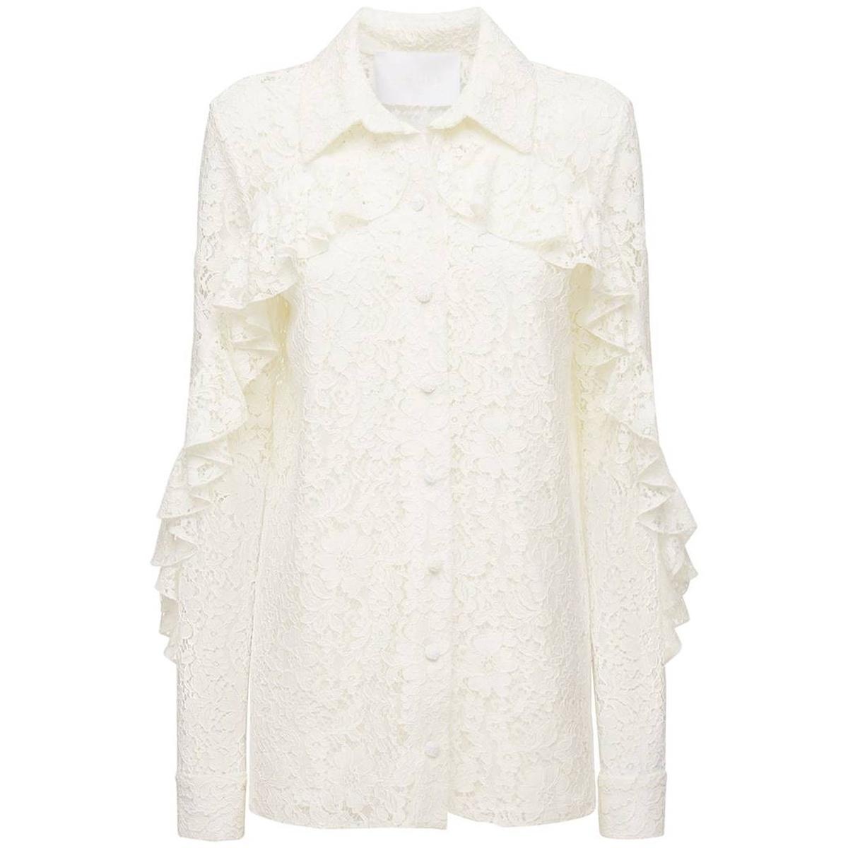 代购Costarellos 褶饰蕾丝衬衫女2021新款奢侈品设计感小众透肌感
