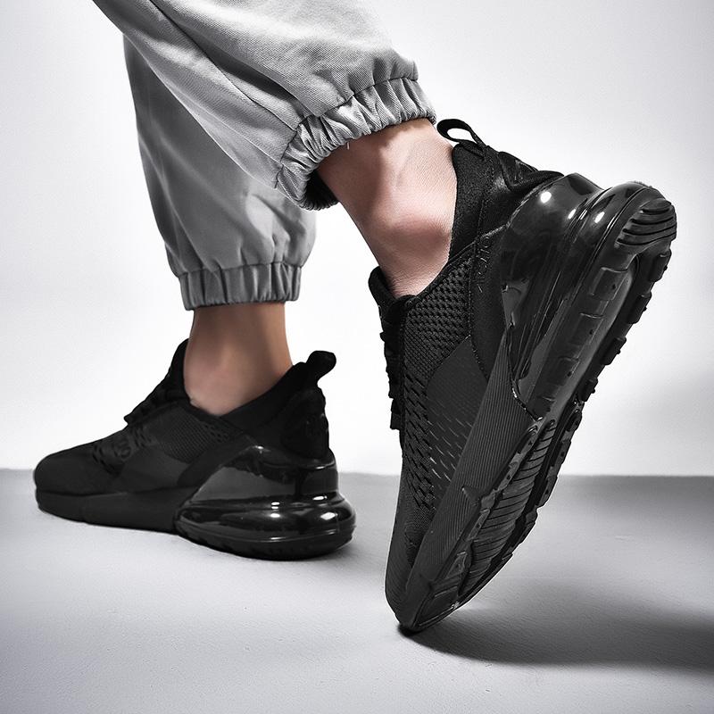 恩施耐克正品秋冬男士全黑色网布运动鞋厚底飞织大码气垫男鞋休闲