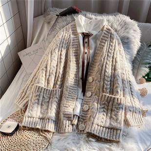 毛衣外套女开衫宽松慵懒风2021年新款秋冬复古日系加厚外穿针织衫