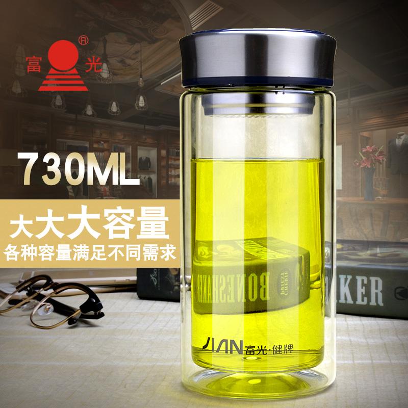 富光大容量双层玻璃杯办公家用泡茶杯男女商务水杯子定制印字logo