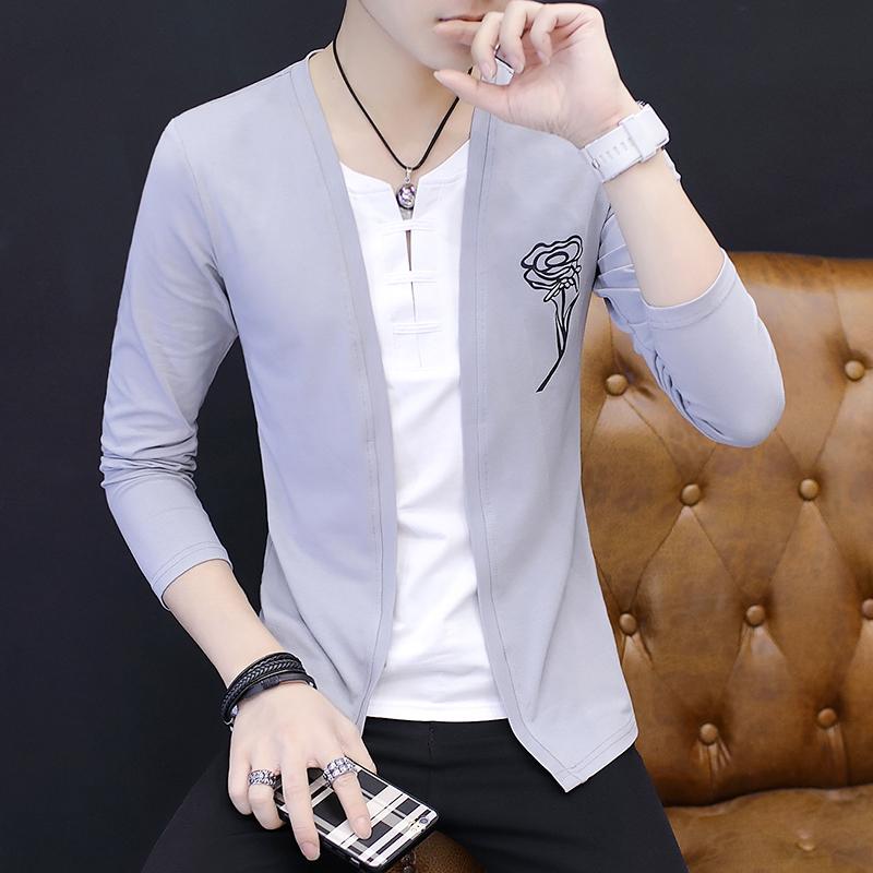 男士长袖T恤男2017秋季薄款韩版修身上衣假两件V领衣服夏季外套潮