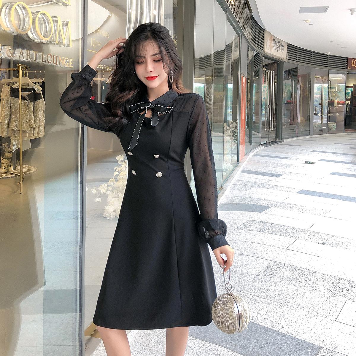 实拍春季新款2019韩版气质淑女长袖拼接雪纺显瘦A字连衣裙
