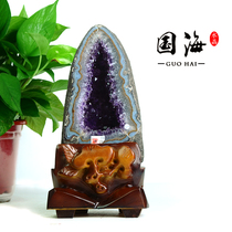 National sea Uruguay Amethyst Cave crystal Hole money bag crystal Cluster treasure Pot Home Office decoration degaussing
