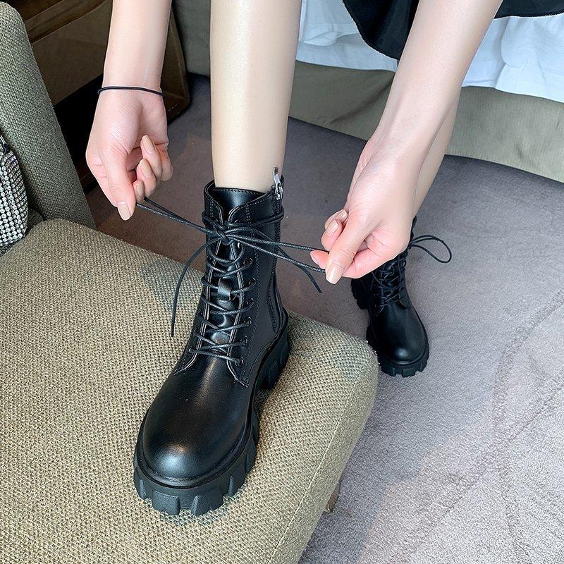 厚底增高黑色系带欧美机车短靴秋季新款2020年夏帅气马丁靴女学生
