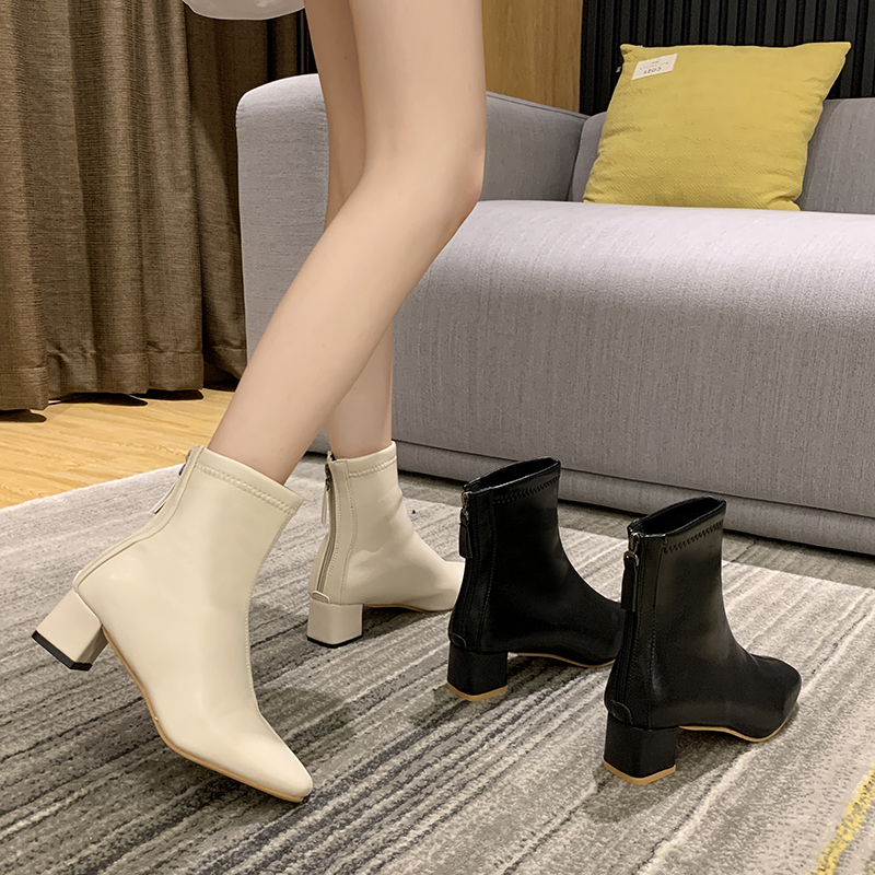 Net red Beige short boots womens spring and winter 2020 new Martin boots womens square head thick heel back zipper thin boots