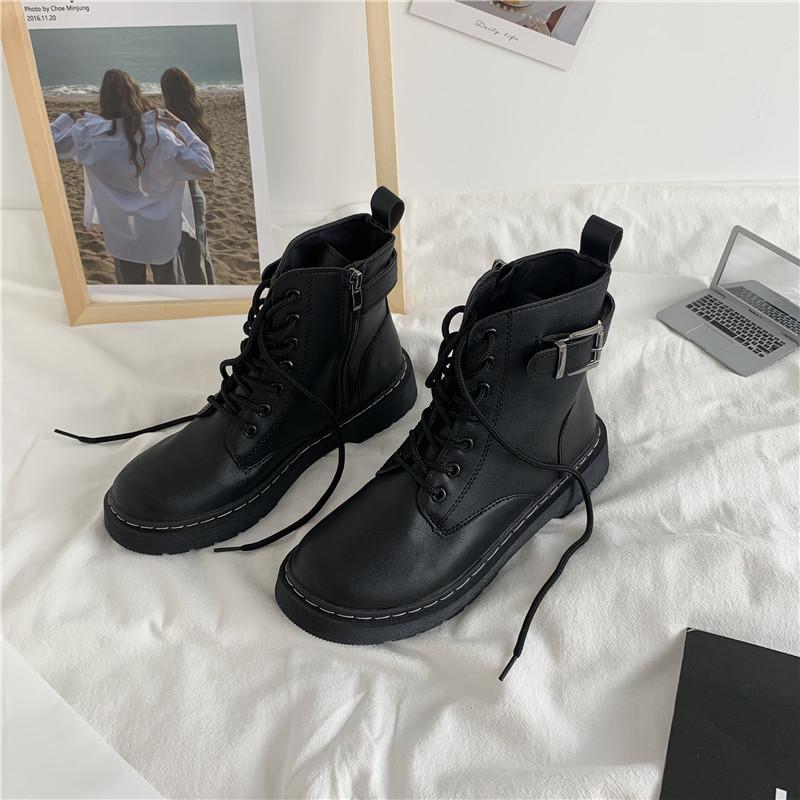 British style Student Korean versatile black lace up Martin boots womens short boots side zipper spring 2020 new flat bottom