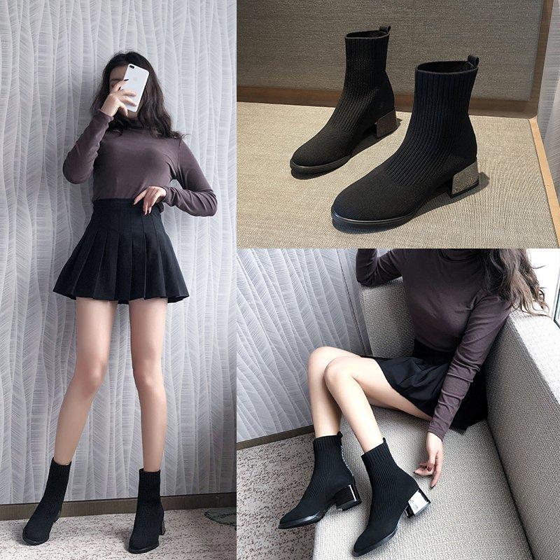 袜靴女2020秋冬新款针织弹力靴粗跟百搭网红韩版百搭瘦瘦靴短靴子