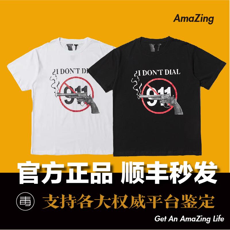 【现货】Vlone 限定左轮手枪911 背后做旧印花V字子弹短袖T恤 - 封面
