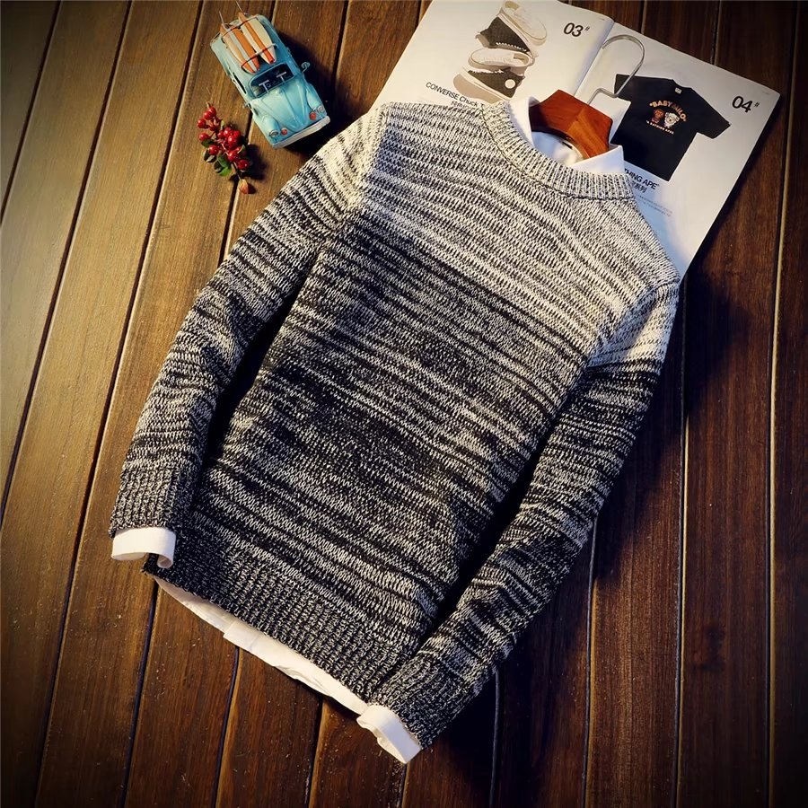 Winter Youth Korean slim fit sweater mens round neck Pullover Sweater student versatile fashion trend sweater