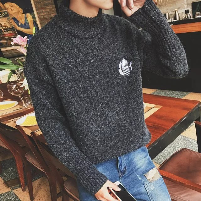 Sweater male couple high collar Korean personality trend winter Japanese loose fitting Pullover Sweater Coat student embroidery