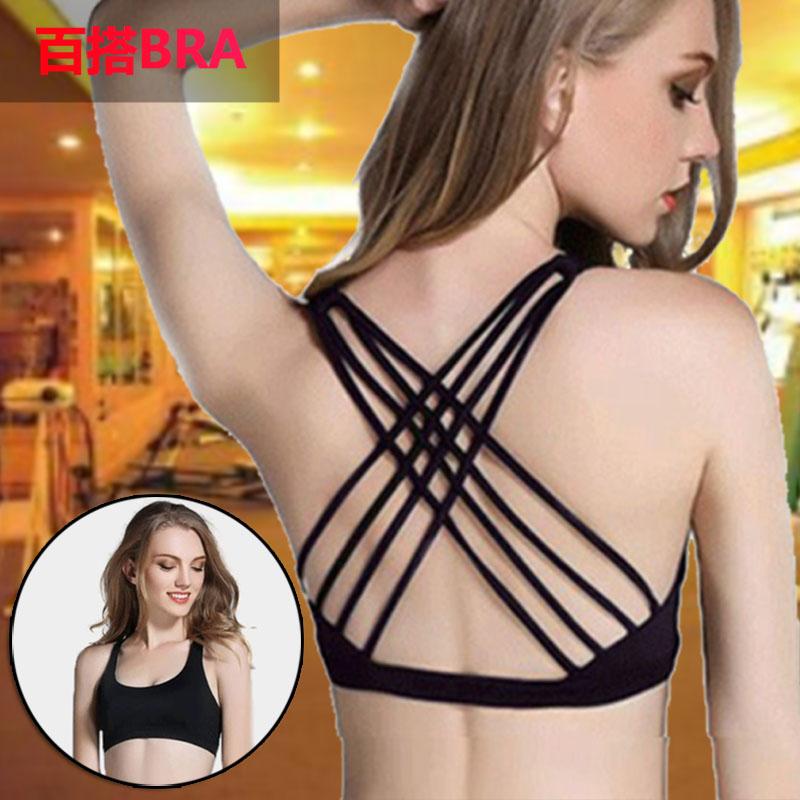 Large size Yoga vest womens bra with bra cushion short style beautiful back thin belt sexy quick drying sports bra sling underwear