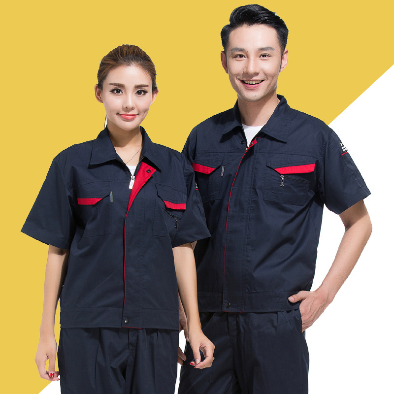 Anti static overalls half sleeve summer clothes high speed rail power grid electrical clothing gas station worker uniform refueling overalls short sleeve