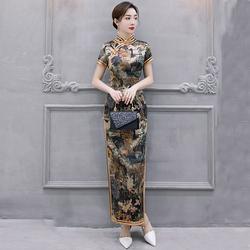 改良版旗袍连衣裙年轻款少女复古民族中国风气质长款性感走秀优雅