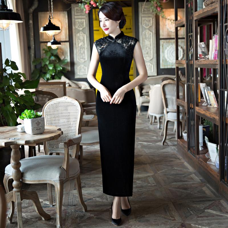 长款黑色正宗金丝绒旗袍2021新款复古中国风年轻款少女旗袍连衣裙