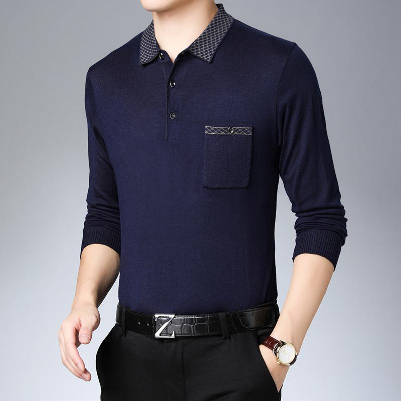 2020爸爸长袖t恤男新款翻领春秋装中老年送礼宽松男士t恤薄款