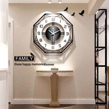 现代简约钟表挂钟客厅个性 北欧时钟家用表大气静音石英钟 创意时尚