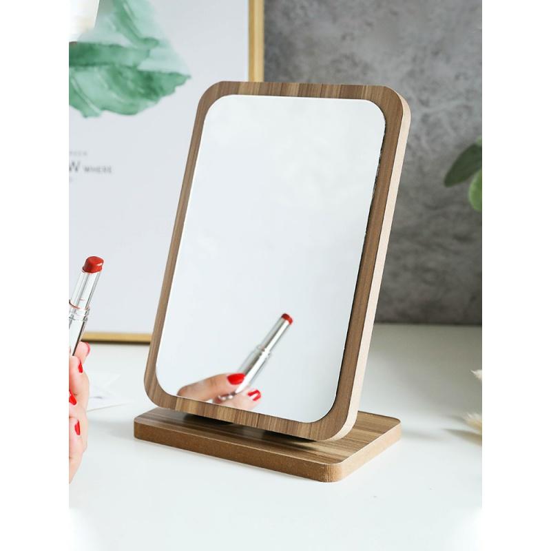 网红木质台式化妆镜子宿舍女桌面便携大号学生小镜折叠家用梳妆镜