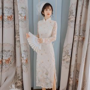 旗袍年轻款少女紧身高开叉旗袍改良版连衣裙法式长款气质优雅日常