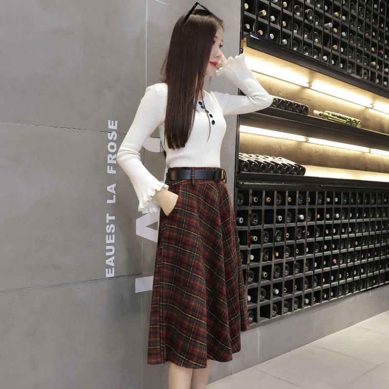 9932#格子半身裙毛呢a型裙子女秋冬中长款新款韩版