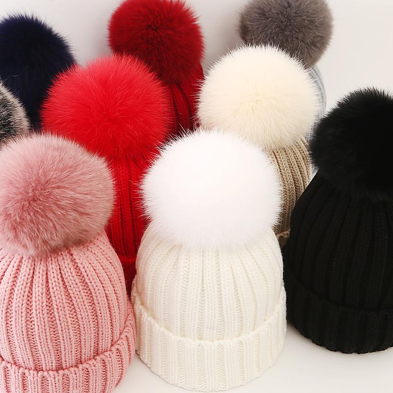 Hat girl autumn and winter fur wool hat fox hair ball knitted hat Korean versatile hair ball hat warm parent child hat