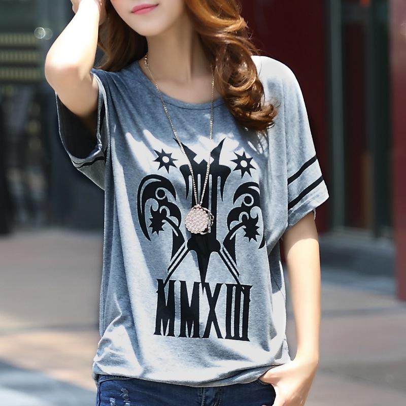 夏装新款韩版女装胖妹妹显瘦大码圆领百搭图案宽松上衣短袖女t恤